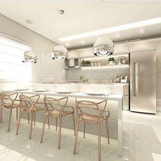Home decor kitchen cozinha Luxury Kitchen Design, Luxury Kitchens, Interior Design Living Room, Modern Interior, Home Kitchens, Küchen Design, House Design, Cuisines Design, Home Decor Kitchen