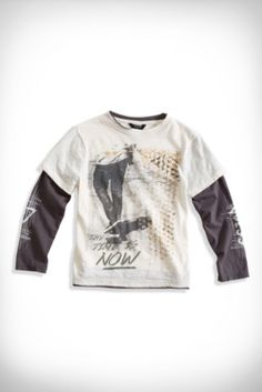 Little Boy Graphic Two-Fer Tee (2-7) | guess kids