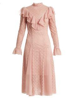 Temperley London Prairie Ruffled Lace Dress In Light Pink Frilly Dresses, Ruffle Dress, Lace Ruffle, Pastel Dresses, Pink Lace, Dress Red, Pastel Pink, Boho Dress, Short Dresses