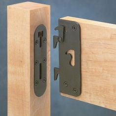 "Locking Safety Bed Rail Brackets - Rockler Woodworking Tools - The interlocking safety latch prevents bed rails from becoming disengaged, while the 1/8"" thick steel construction adds strength."