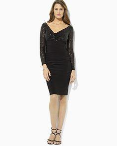 Lauren Ralph Lauren Sequin Top Long Sleeve Dress