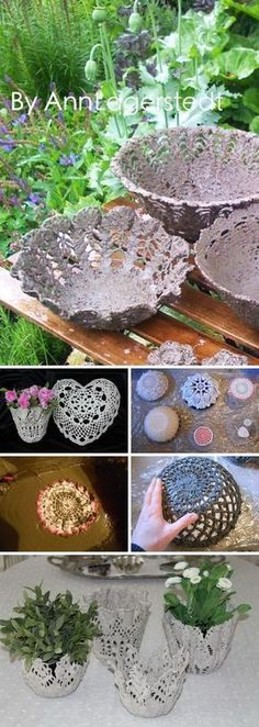 What a great compilation of posts to use concrete to beautify your garden - DIY Cement Lace Using Doilies And Other Crochet Items .Diy garden pots cement yards 21 ideas for thousands of images about 20 DIY concrete projectsArts And Craft Diy Garden, Garden Boxes, Garden Crafts, Garden Projects, Garden Art, Garden Ideas, Garden Planters, Garden Design, Wall Planters