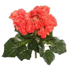 Vickerman 9.5 inch Orange Polyester Begonia Bush with 36 Leaves and 54 Flowers