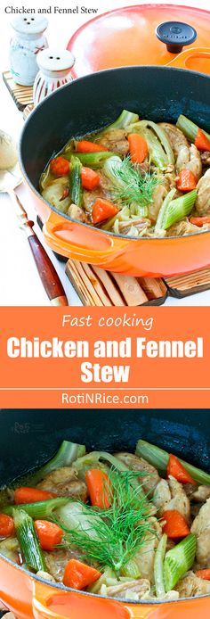 This quick and comforting Chicken and Fennel Stew is wonderful served with rice. The carrots and fennel lend a delicious sweetness and aroma to the stew. Beef Recipes For Dinner, Soup Recipes, Chicken Recipes, Cooking Recipes, Cooking Stuff, Healthy Chicken, Healthy Meals, Dinner Dishes, Food Dishes