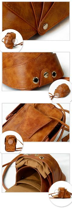 Small Beetle Crossbody Leather Bag-Brown-Small Cell by KiliDesign