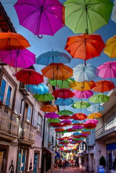 The floating umbrellas of Águeda, Portugal (by mfr).