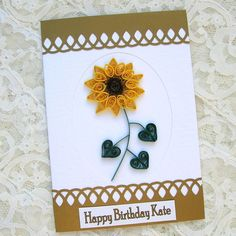 Quilling Greeting Card Personalized Paper Quilled Birthday Congratulations Get Well Sunflower Handmade by Enchanted Quilling on Etsy. $7.00, via Etsy.
