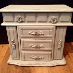 Vintage OOAK Upcycled Large Wooden Jewellery Box Hand Painted With Paris Grey Chalk Paint - Cottage Chic Jewellery Box on Etsy, $86.21