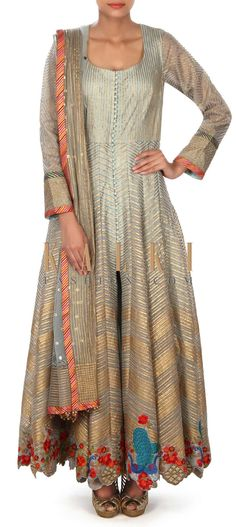 Buy this Grey blue anarkali suit adorn in gotta lace only on Kalki