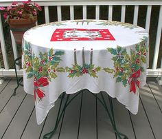 Vintage Christmas Tablecloth Teal Red Gold Candles Bows Holly
