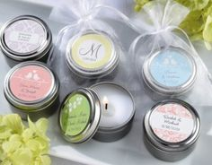 SET Personalized Bridal Shower Favor Candles Unique by EventDazzle Inexpensive Wedding Favors, Diy Wedding Gifts, Candle Wedding Favors, Wedding Shower Favors, Candle Favors, Wedding Gifts For Guests, Bachelorette Party Favors, Bridal Shower Rustic, Bridal Shower Gifts