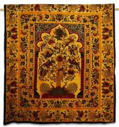 Indian Wall Hanging Cotton Tapestry Tree Of Life Yellow Full Bohemian Tapestries #Handmade