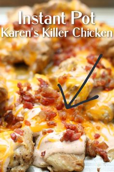 Instant Pot Karen's Killer Chicken–tender chicken thighs with an addicting sauce drizzled over the top, bacon and cheddar. It's sure to become a family favorite. This recipe is keto friendly! Ip Chicken, Chicken Thighs, Instant Pot Dinner Recipes, Best Dinner Recipes, Instant Pot Pressure Cooker, Pressure Cooker Recipes, Healthy Weeknight Meals, Cooking Recipes, Healthy Recipes