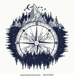 argentum surfer Europam Ulissiponensis Mountain antique compass and wind rose tattoo art. Adventure, travel, outdoors, symbol. Tattoo for travelers, climbers, hikers. Compass in night forest tattoo boho style, t-shirt design