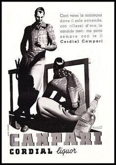 PUBBLICITA'1938 CORDIAL CAMPARI LIQUORE LAMPONI  ACQUAVITE MONTAGNA G. BOCCASILE