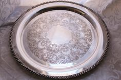 Wm Rogers Silver Plate Round Tray 15 inch Rare by losttreasures2u, $64.99