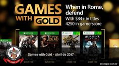 Romanos, zumbis, bestas do apocalipse e assassinos nas plataformas Microsoft no mês de Abril.  #GamesWithGold #Microsoft #XboxOne #Xbox360 #Ryse #RyseSonOfRome #TheWalkingDead #TheWalkingDeadSeason2 #Darksiders #AssassinsCreed #AssassinsCreedRevelations #VaoJogar #VideoGames #Games #InstaGames