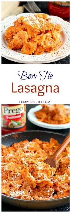 This Creamy Bowtie Lasagna is an easy recipe that the whole family will enjoy. Filled with hearty ingredients and made in a skillet, this pasta contains all of the flavors of classic lasagna, but without all of the prep work! (sweets recipes without oven) Beef Recipes, Italian Recipes, Cooking Recipes, Healthy Recipes, Easy Pasta Recipes, Easy Family Recipes, Aldi Recipes, Recipies, Sweets Recipes
