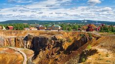 Open pit copper mine at Falun, Sweden. Source of red paint.