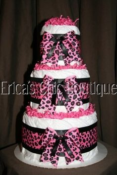 Hot Pink & Black Leopard Diaper Cake Baby Girl Shower Centerpiece Hospital Gift