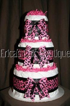 Hot Pink & Black Leopard Diaper Cake Baby Girl Shower Centerpiece Hospital Gift