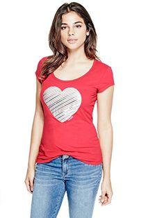 Amazon.com  G by GUESS Women s Aleah Heart Tee  Clothing c085b6454