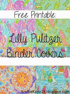 Kraftie Katie: Lilly Pulitzer Binder Covers DIY Free Printable: