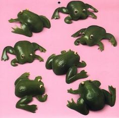 cute way to fun up a party salad: green pepper frogs