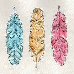 Tribal Feather Triplet Illustration Greetings Card 6x6""