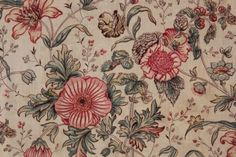 Vintage French floral fabric material18th century design, printed c1940's