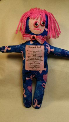 Dammit Doll Breast Cancer by BBsQuiltsnMore on Etsy Dammit Doll, Pin Cushions, Breast Cancer, Sea, Dolls, Trending Outfits, Unique Jewelry, Handmade Gifts, Fictional Characters
