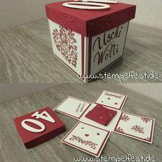 Eine Explosionsbox zur Rubinhochzeit Stampin Up Karten, Exploding Boxes, Stamping Up, Container, Presents, Homemade, Paper, Gifts, Diy