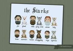 Game of Thrones - The Starks and their wolves cross stitch pattern