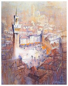 Piazza del Campo #siena #italy #tuscany #art #painting #watercolor #watercolour #thomaswschaller pic.twitter.com/duxtWE27RD