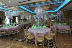 Lavender & Lime Themed Bat Mitzvah Lavender & Lime Themed Bat Mitzvah with Aqua Gems & Sparkle Balloon Centerpieces at Seasons Catering, Washington Township