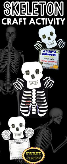 Skeleton craft activity for Halloween - looks really effective and only three easy parts to cut! Comes with a printer friendly option, and different writing papers.