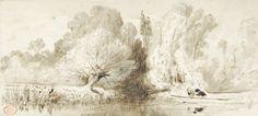 Paul HUET  Partie de pêche Lavis d'encre brune (très légères rousseurs), cachet Paul Huet en bas à gauche (Lugt n° 1268). 11,5 x 25 cm.