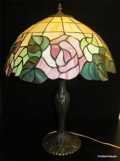 """24"""" Tiffany Style Table Lamp with Roses & Leaves Shades in Browns, Pinks, Purple"""