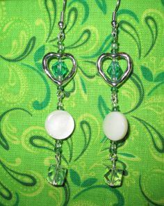 Emerald green heart dangles, open heart earrings, May birthstone earrings, emerald jewelry, handmade jewelry, bridal earrings