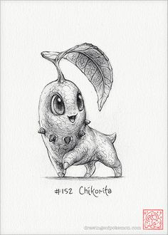 Chikorita 5 x 7 print pokemon drawing grass by RockyHammerEtsy Pokemon Sketch, Pokemon Fan Art, Draw Pokemon, Pokemon Poster, Gold Pokemon, Cute Pokemon, Baby Pokemon, Drawing Sketches, Art Drawings