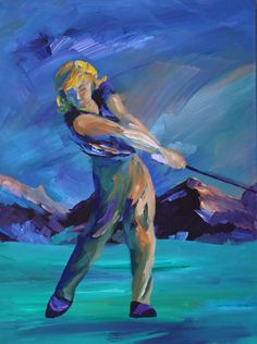 """""""Swing Sequence - Woman"""" (#2 panel of a tryptic) by Greg Evans"""