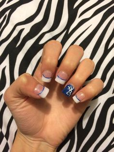 Nails white tips with blue stripe and browning symbol! Have have HAVE to get my nails like this loveeee Camo Nail Art, Camouflage Nails, Camo Nails, Blue And Silver Nails, Nails Yellow, White Tip Nails, Hunting Nails, Deer Nails, Country Nails