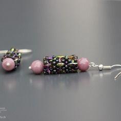 Boucles d'oreilles argent pendentif perles ovales à deux trous perles indiennes