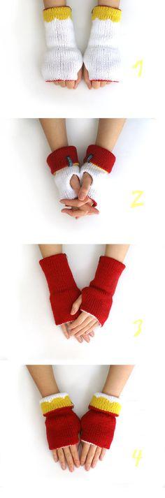 Reversible Fingerless Gloves Hand Knitted by WhiteNoiseMaker, $48.00