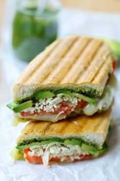 Have Some Leftover Shredded Chicken? Change It The Next Day With This Pesto Chicken Avocado Panini That's Loaded With Flavor With A Nice Crunch Avocado Sandwich Panini Recipe Pesto Sandwich Lunch Recipes, Dinner Recipes, Cooking Recipes, Healthy Recipes, Wrap Recipes, Recipes With Pesto, Sandwich Recipes, Pesto Chicken, Chicken Panini