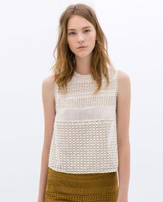 Zara / Embroidered Sleeveless Top