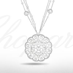 Admire this delicate diamond necklace from our 2014 Red Carpet Collection. The pendant of fine diamond-set lace design within an undulating diamond surround, to the similarly set fine link chain. Diamond Solitaire Necklace, Diamond Pendant Necklace, Necklace Set, Chopard, Lace Design, Red Carpet, Mandala, Delicate, Bling