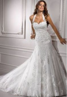 Lace Halter Sweetheart Mermaid Wedding Dress ... I like the shape of this dress, not nec the texture however.  Beautiful design, tho! Not so much big flare at the bottom