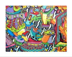"""Colorful graffiti artwork, so cool! Add beauty to any room with this gorgeous canvas wrapped art print. Features: • UV-coating, scratch resistant • 1.25"""" thick edges • Ready to hang"""