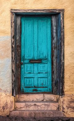 blue door in Tucson, Arizona